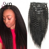 Virgin Human Hair Kinky Straight Clip In Hair Extensions 7pcs/set 120g