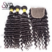 Malaysian Deep Wave Virgin Remy Real Human Hair Extensions 3 or 4 Bundles With Top Lace Closure 4x4