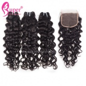 3 Bundle Hair Deals With Lace Closure 4x4 Jerry Curl Cheap Virgin Remy Hair Extensions
