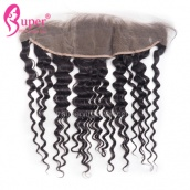 Celebrity Hair Extensions 13x4 Ear To Ear Lace Frontal Closure 13x4 Bleached Knots Deep Wave Virgin Hair For African