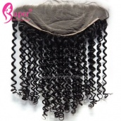 13x6 Lace Frontal Closure With Baby Hair Curly Virgin Human Hair Ear to Ear Frontals Bleached Knots