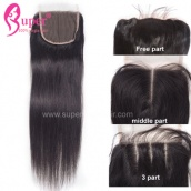 Swiss Lace Top Closure 4x4 Straight Human Hair Closure Bleached Knots 3 Part Middle Part Free Part