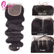 Top Lace Closure 4x4 Body Wave Virgin Human Hair With Baby Hair Bleached Knots