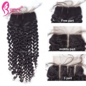Top Lace Closure 4x4 Curly Virgin Human Hair Bleached Knots With Baby Hair