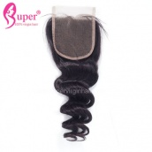 Top Lace Closure 4x4 Loose Wave Virgin Human Hair Bleached Knots With Baby Hair