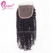Real Virgin Human Hair Arfo Kinky Curly Lace Closure 4x4 Bleached Knots Free Middle 3 Way Part