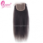 Kinky Straight Virgin Human Hair Top Lace Closure 4x4 Bleached Knots Natural Black Color