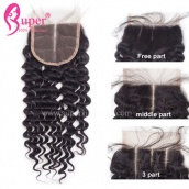 Virgin Remy Brazilian Deep Wave Hair Best Swiss 4x4 Cheap Weave Lace Closure Piece Free Middle 3 Part
