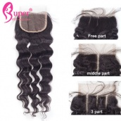 4x4 Bleached Knots Swiss Lace Closure Weave Piece Natural Wave Virgin Human Hair