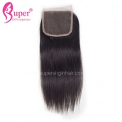 4X4 Cheap Straight Human Hair Lace Closure Bleached Knots Free Part Middle Part 3 Part