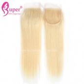 613 Blonde Virgin Straight Human Hair Extensions Top Lace Closure 4x4