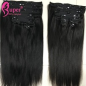 Cheap Brazilian Virgin Remy Clip In Straight Human Hair Extensions 7pcs/set 120g For Sale