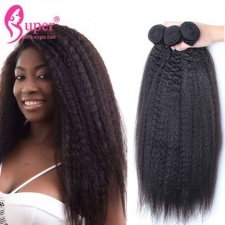 Luxury Unprocessed Virgin Hair Kinky Straight Brazilian Hair Weave 3 or 4 Bundles Can Be Dyed