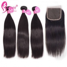 Straight Human Hair 3 or 4 Bundles With Top Lace Closure 4x4 Premium Brazilian Virgin Remy Hair Extensions