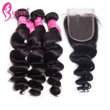 Best Match Loose Wave Top Lace Closure 4x4 With Premium Brazilian Virgin Remy Human Hair Extensions 3 or 4 Bundles