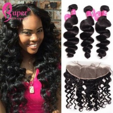 Best Match 13x4 Lace Frontal Closure With 3 or 4 Bundles Premium Brazilian Loose Wave Virgin Human Hair Extensions