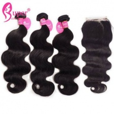 Brazilian Virgin Hair Body Wave 3 or 4 Bundles With Top Lace Closure 4x4 Premium Cheap Remy Human Hair Extensions