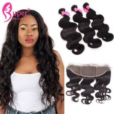13x4 Lace Frontal Closure Body Wave With 2 or 3 Bundles Premium Unprocessed Brazilian Virgin Remy Human Hair Extensions