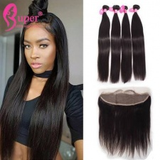 Best Match 13x4 Lace Frontal Closure With 2 or 3 Bundles Premium Natural Brazlian Straight Virgin Human Hair Extensions