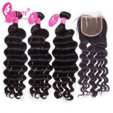 Brazilian Natural Wave Weave Hair With Lace Closure 4x4 Wholesale Price Premium Human Hair