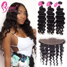 Lace Frontal With 3 or 4 Bundles Brazilian Natural Wave Virgin Remy Human Hair Extensions