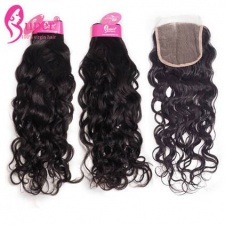 Water Wave Brazilian Weave hair 3 or 4 Bundles With Lace Closure 4x4