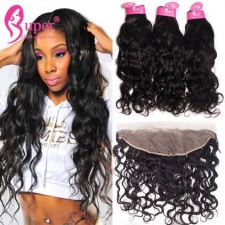 13x4 Lace Frontal Closure With Bundles Premium Brazilian Water Wave Remy Human Hair Weave