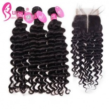 Premium Brazilian Virgin Hair Deep Wave 3 or 4 Bundles With Top Lace Closure 4x4 100 Human Hair Extensions