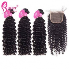 Curly Human Hair Weave 3 or 4 Bundles With Top Lace Closure 4x4 Premium Brazilian Virgin Remy Hair Extensions