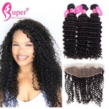 13X4 Ear To Ear Lace Frontal Closure With Bundles 3 or 2 pcs Premium Brazilian Virgin Hair Curly Human Hair Weave