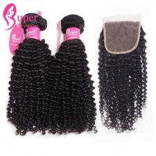Brazilian Virgin Hair Afro Kinky Curly Weave 3 or 4 Bundles With Top Lace closure 4x4 Premium Remy Human Hair Extensions