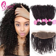 Brazilian Kinky Curly Virgin Hair With Lace Frontal Closure 100 Premium Remy Human Hair For Sale