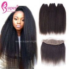 Kinky Straight Lace Frontal 13x4 With Bundles 100 Brazilian Remy Human Hair Extensions