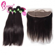 13x4 Ear To Ear Lace Frontal Closure With 2 or 3 Bundles Premium Unprocessed Peruvian Straight Virgin Remy Human Hair Extensions