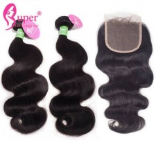 Best Match Body Wave Top Lace Closure 4x4 With 3 or 4 Bundles Premium Peruvian Virgin Human Hair Extensions For Sale