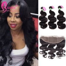 13x4 Lace Frontal Closure With 2 or 3 Bundles Premium Peruvian Body Wave Virgin Remy Human Hair Extensions Cheveux Humain
