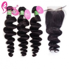 Best Match Peruvian Loose Wave 3 or 4 Bundles With Top Lace Closure 4x4 Premium Virgin Remy Human Hair Extensions uk