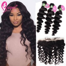 13x4 Lace Frontal Closure With 2 or 3 Bundles Premium Peruvian Virgin Hair Loose Wave Cheap Human Hair Extensions