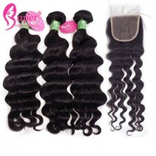 Premium Peruvian Natural Wavy Human Hair Weave Bundles With Lace Closure 4x4 100 Virgin Remy Hair