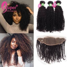 Kinky Curly Peruvian Virgin Hair 3 Bundles With Lace Frontal Closure 13x4 Premium Human Hair Wholesale Price