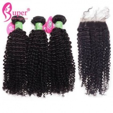 Peruvian Virgin Hair Afro Kinky Curly 3 or 4 Bundles With Top Lace Closure 4x4 Best Human Hair Extensions Natural Black Color