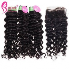 Jerry Curly Human Hair Weft 3 or 4 Bundles With Top Lace Closure 4x4 Premium Real Peruvian Virgin Remy Hair Extensions London