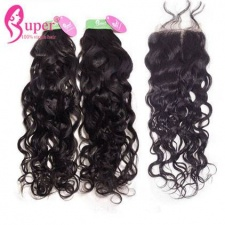Best Match Water Wave 3 or 4 Bundles With Top Lace Closure 4x4 Real Peruvian Virgin Remy Hair Weave Natural Black Color