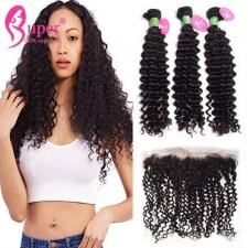 13x4 Lace Frontal Closure With 2 or 3 Bundles Premium Peruvian Curly Virgin Remy Human Hair Extensions Best Match Cabelo Humano Cacheado
