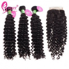 Best Match Peruvian Curly Hair 3 or 4 Bundles With Top Lace Closure 4x4 Premium Real Virgin Human Hair Extensions