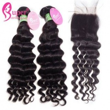 Best Match 100 Human Hair Deep Wave 3 or 4 Bundles With Top Lace Closure 4x4 Premium Peruvian Virgin Black Hair Extensions