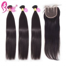 3 or 4 Bundles Straight Hair With Closure 4X4 Top Lace Closures Premium Malaysian Virgin Hair Extension