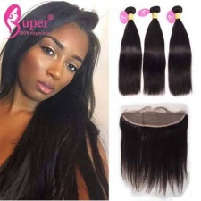 2 or 3 Bundles Straight Hair Weave With Lace Frontal Closure 13X4 Premium Malaysian Virgin Remy Hair Extension For Sale Natural Black Color