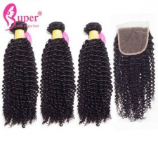 Afro Kinky Curly Human Hair Weave 3 or 4 Bundles With Top Lace Closure 4x4 Premium Malaysian Virgin Remy Hair Extensions