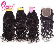 Top Lace Closure 4x4 With 3 or 4 Bundles Water Wave Premium Malaysian Virgin Remy Human Weft Hair Extensions